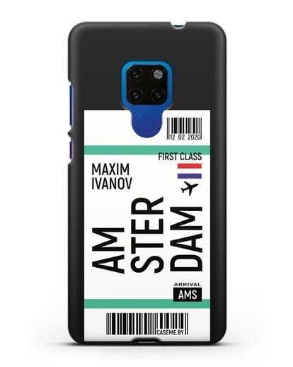 Чехол Авиабилет Амстердам с именем, фамилией силикон черный для Huawei Mate 20