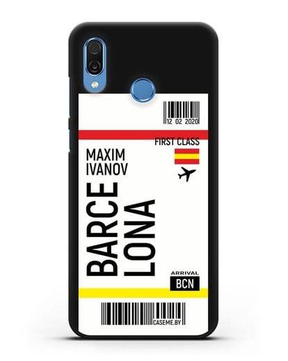 Чехол Авиабилет Барселона с именем, фамилией силикон черный для Honor Play