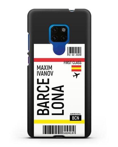 Чехол Авиабилет Барселона с именем, фамилией силикон черный для Huawei Mate 20