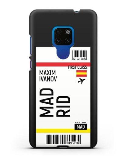 Чехол Авиабилет Мадрид с именем, фамилией силикон черный для Huawei Mate 20