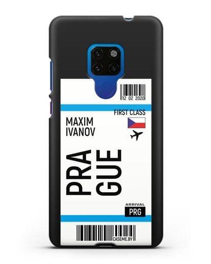 Чехол Авиабилет Прага с именем, фамилией силикон черный для Huawei Mate 20