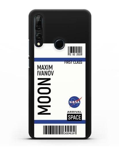 Чехол Космический билет на Луну NASA с именем фамилией силикон черный для Honor 9X
