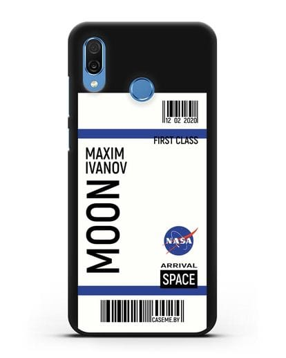 Чехол Космический билет на Луну NASA с именем фамилией силикон черный для Honor Play