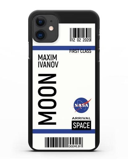 Чехол Космический билет на Луну NASA с именем фамилией силикон черный для iPhone 11