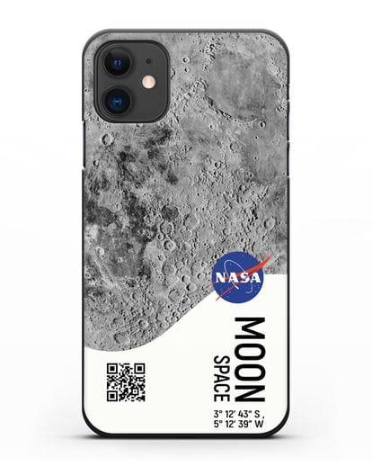 Чехол Луна с координатами силикон черный для iPhone 11