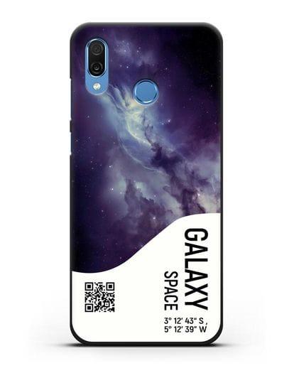 Чехол Галактика с координатами силикон черный для Honor Play