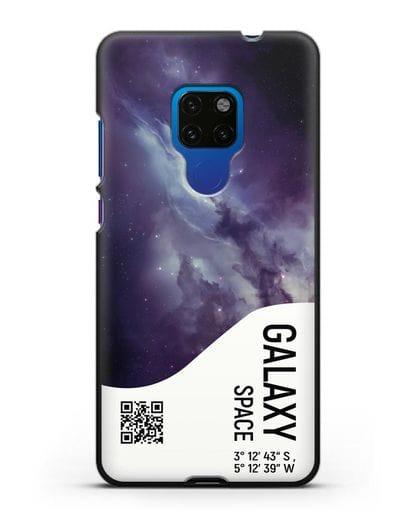 Чехол Галактика с координатами силикон черный для Huawei Mate 20