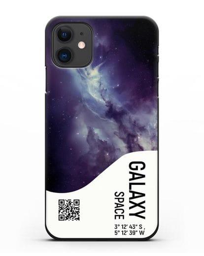 Чехол Галактика с координатами силикон черный для iPhone 11