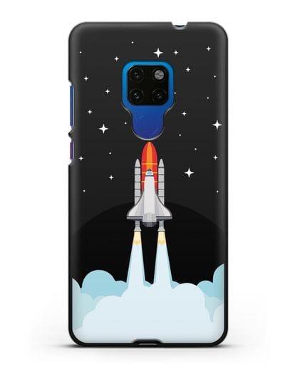 Чехол с иллюстрацией Спейс Шаттл силикон черный для Huawei Mate 20
