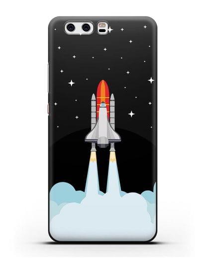 Чехол с иллюстрацией Спейс Шаттл силикон черный для Huawei P10 Plus
