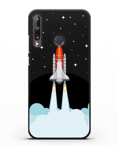 Чехол с иллюстрацией Спейс Шаттл силикон черный для Huawei P40 lite E