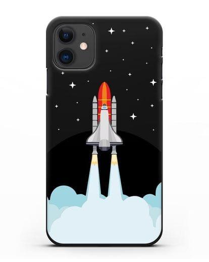 Чехол с иллюстрацией Спейс Шаттл силикон черный для iPhone 11
