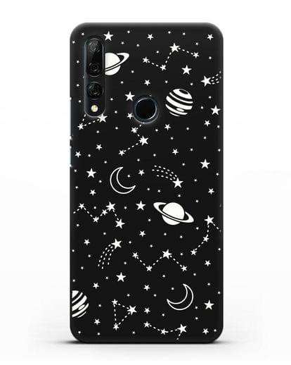 Чехол с иллюстрацией Планеты силикон черный для Honor 9X