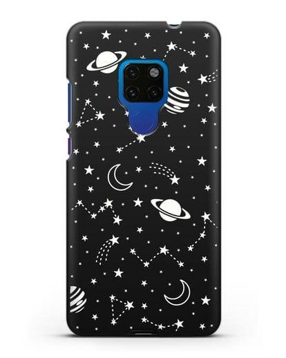 Чехол с иллюстрацией Планеты силикон черный для Huawei Mate 20