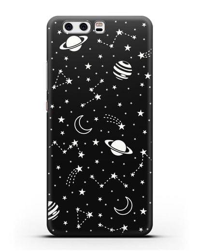 Чехол с иллюстрацией Планеты силикон черный для Huawei P10 Plus