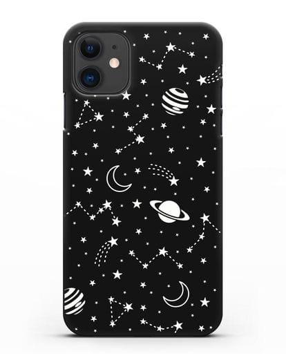 Чехол с иллюстрацией Планеты силикон черный для iPhone 11