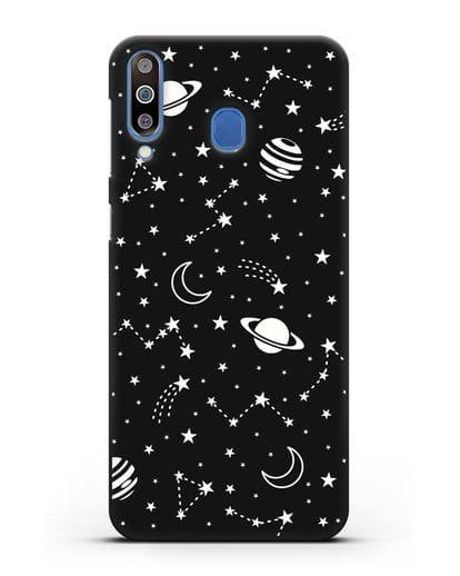 Чехол с иллюстрацией Планеты силикон черный для Samsung Galaxy M30 [SM-M305F]