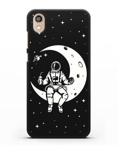 Чехол Космонавт на луне силикон черный для Honor 8S