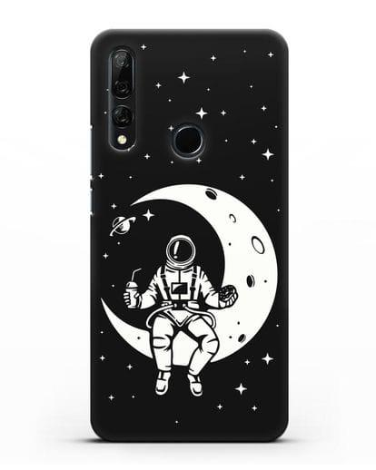 Чехол Космонавт на луне силикон черный для Honor 9X