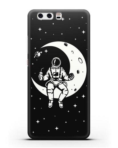 Чехол Космонавт на луне силикон черный для Huawei P10 Plus