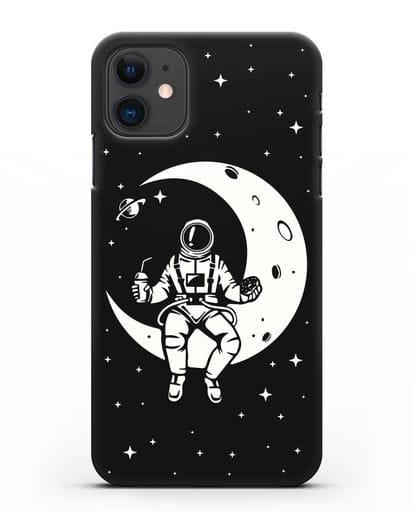 Чехол Космонавт на луне силикон черный для iPhone 11