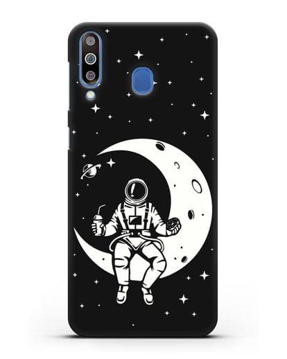 Чехол Космонавт на луне силикон черный для Samsung Galaxy M30 [SM-M305F]