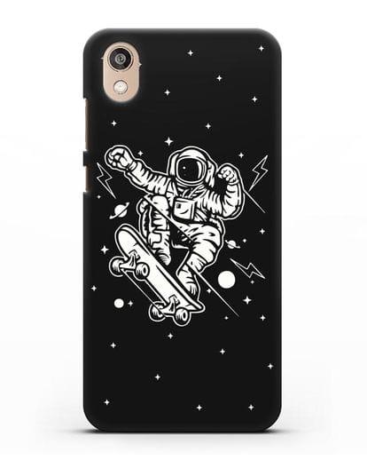 Чехол Космонавт на скейте силикон черный для Honor 8S
