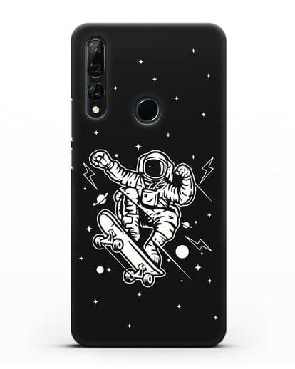 Чехол Космонавт на скейте силикон черный для Honor 9X