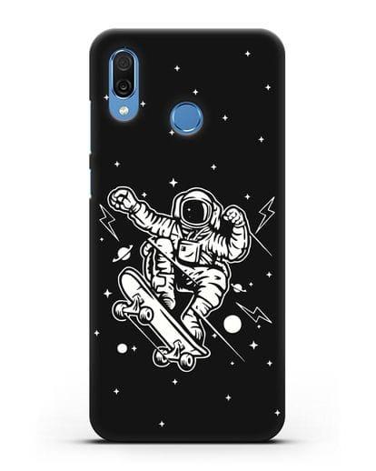 Чехол Космонавт на скейте силикон черный для Honor Play