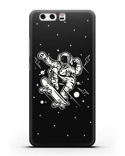 Чехол Космонавт на скейте силикон черный для Huawei P10 Plus