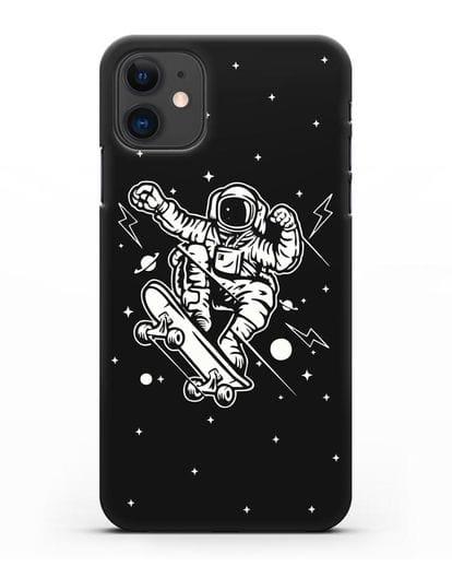 Чехол Космонавт на скейте силикон черный для iPhone 11
