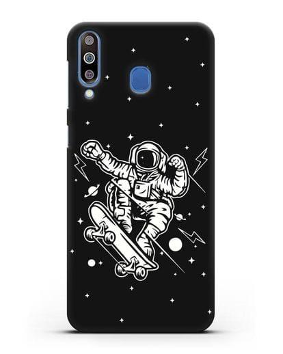Чехол Космонавт на скейте силикон черный для Samsung Galaxy M30 [SM-M305F]