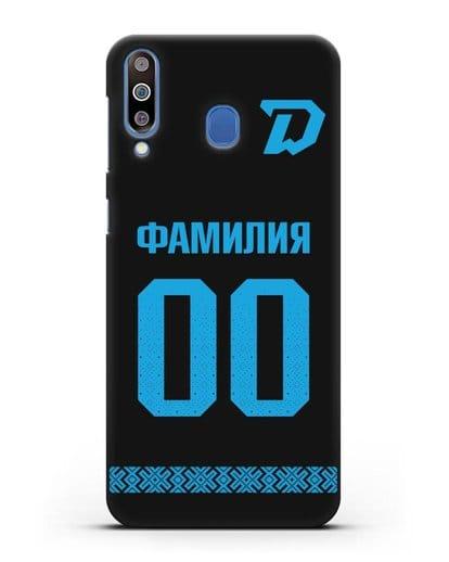 Именной чехол ХК Динамо-Минск с фамилией и номером (сезон 2019-2020) черная форма силикон черный для Samsung Galaxy M30 [SM-M305F]