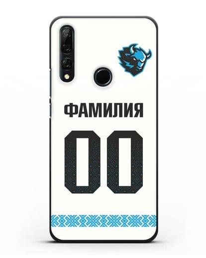 Именной чехол ХК Динамо-Минск с фамилией и номером (сезон 2019-2020) белая форма силикон черный для Honor 9X