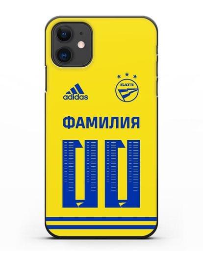 Именной чехол ФК БАТЭ с фамилией и номером (сезон 2020-2021) желтая форма силикон черный для iPhone 11