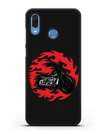 Чехол с изображением Мотоцикл в огне силикон черный для Honor Play