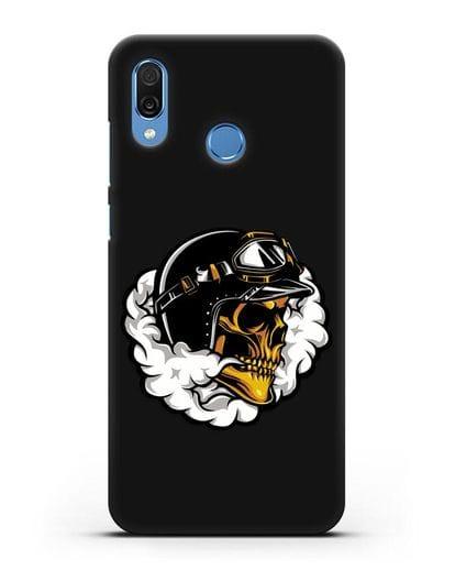 Чехол с изображением Череп в шлеме силикон черный для Honor Play