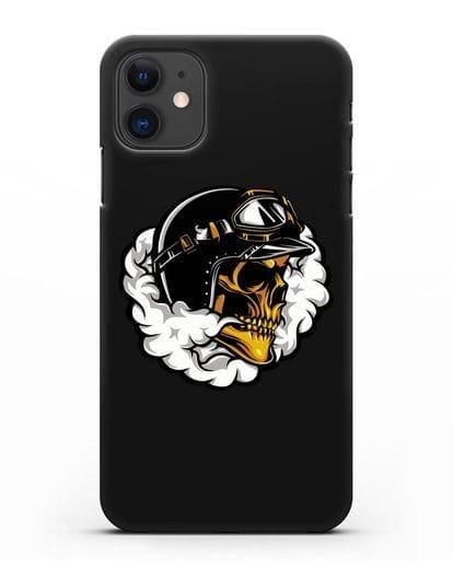 Чехол с изображением Череп в шлеме силикон черный для iPhone 11