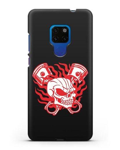 Чехол с изображенем Череп и поршни силикон черный для Huawei Mate 20