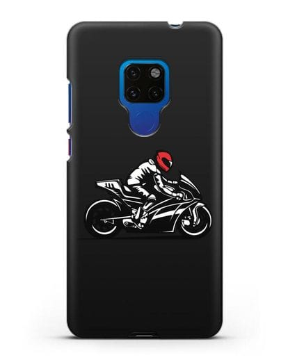 Чехол с рисунком Мотоциклист силикон черный для Huawei Mate 20