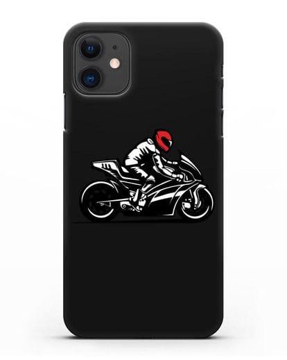 Чехол с рисунком Мотоциклист силикон черный для iPhone 11