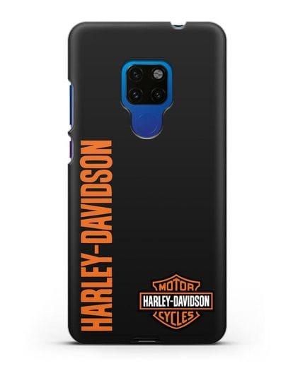 Чехол с надписью Harley-Davidson и логотипом силикон черный для Huawei Mate 20