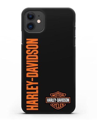 Чехол с надписью Harley-Davidson и логотипом силикон черный для iPhone 11