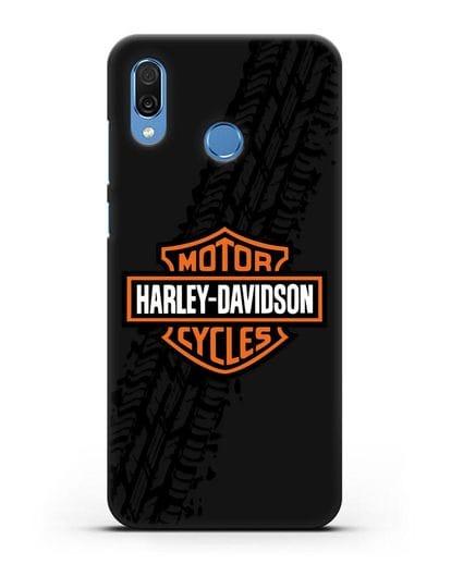 Чехол с логотипом Harley-Davidson и протектором шин силикон черный для Honor Play