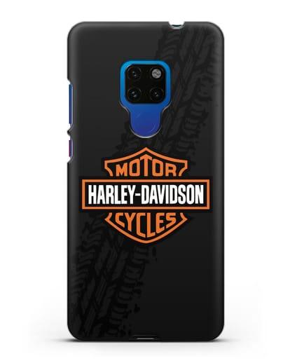 Чехол с логотипом Harley-Davidson и протектором шин силикон черный для Huawei Mate 20