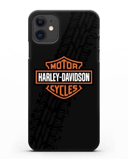 Чехол с логотипом Harley-Davidson и протектором шин силикон черный для iPhone 11