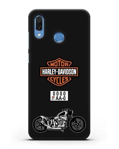 Чехол с изображением мотоцикла Harley-Davison с номерным знаком силикон черный для Honor Play