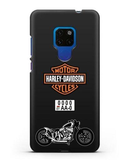 Чехол с изображением мотоцикла Harley-Davison с номерным знаком силикон черный для Huawei Mate 20