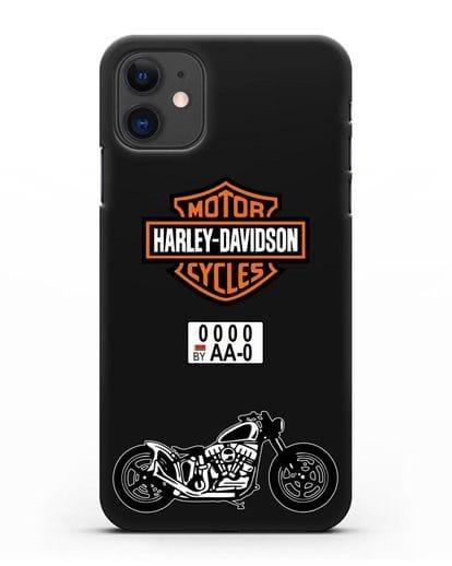 Чехол с изображением мотоцикла Harley-Davison с номерным знаком силикон черный для iPhone 11