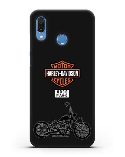 Чехол с изображением мотоцикла Харли Дэвидсон с номерным знаком силикон черный для Honor Play